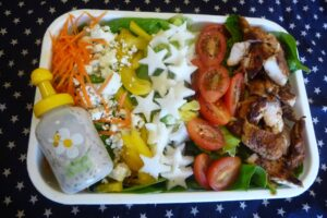 Red, White, and Blue Cheese Salad Bento