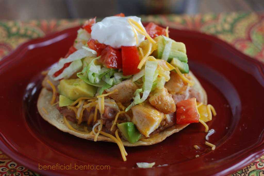 this is a picture of Chicken Tostadas. recipe at beneficial-bento.com
