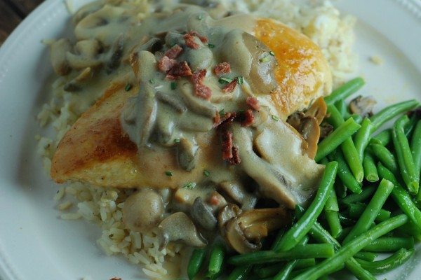 Recipe for Dijon Chicken with Mushrooms and Bacon