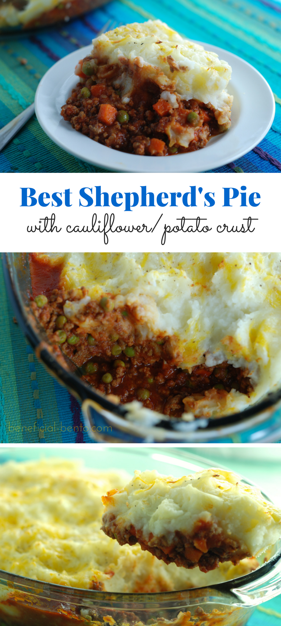 Shepherd's Pie lightened up with cottage cheese and cauliflower - my family could not believe this had cauliflower in it!