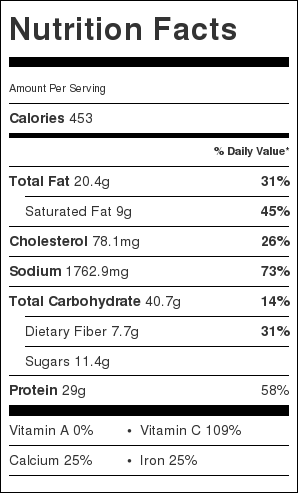Best shepherd's Pie nutrition label
