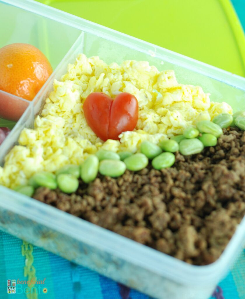 soboro bento with tomato heart - healthy, and cute!