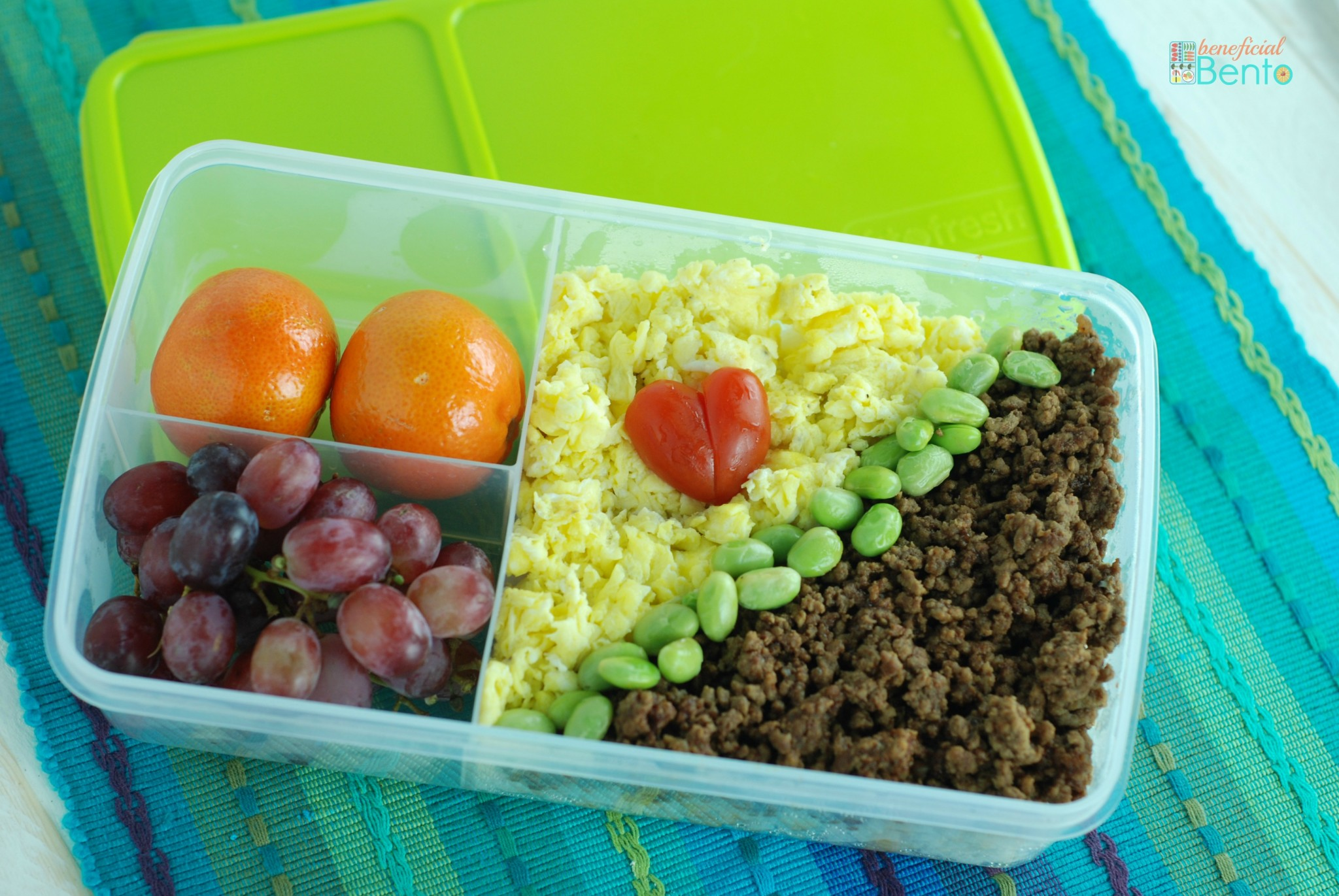 soboro bento - an easy idea for lunch with egg, beef, rice and edamame