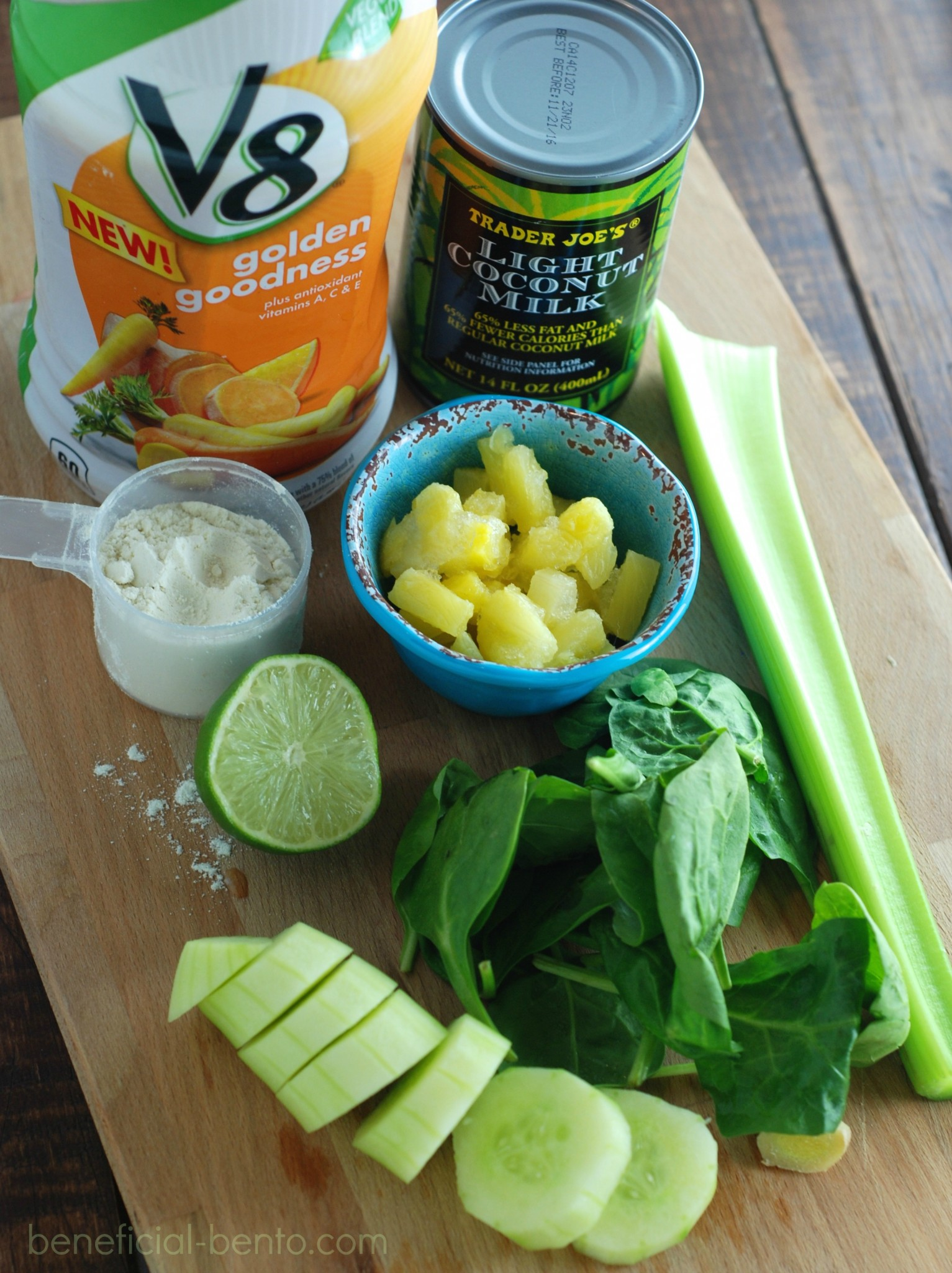 This tropical green smoothie contains an impressive dose of veggies, but is sweetened up with  lime, coconut milk, and pineapple. Gives you a huge energy boost, too!