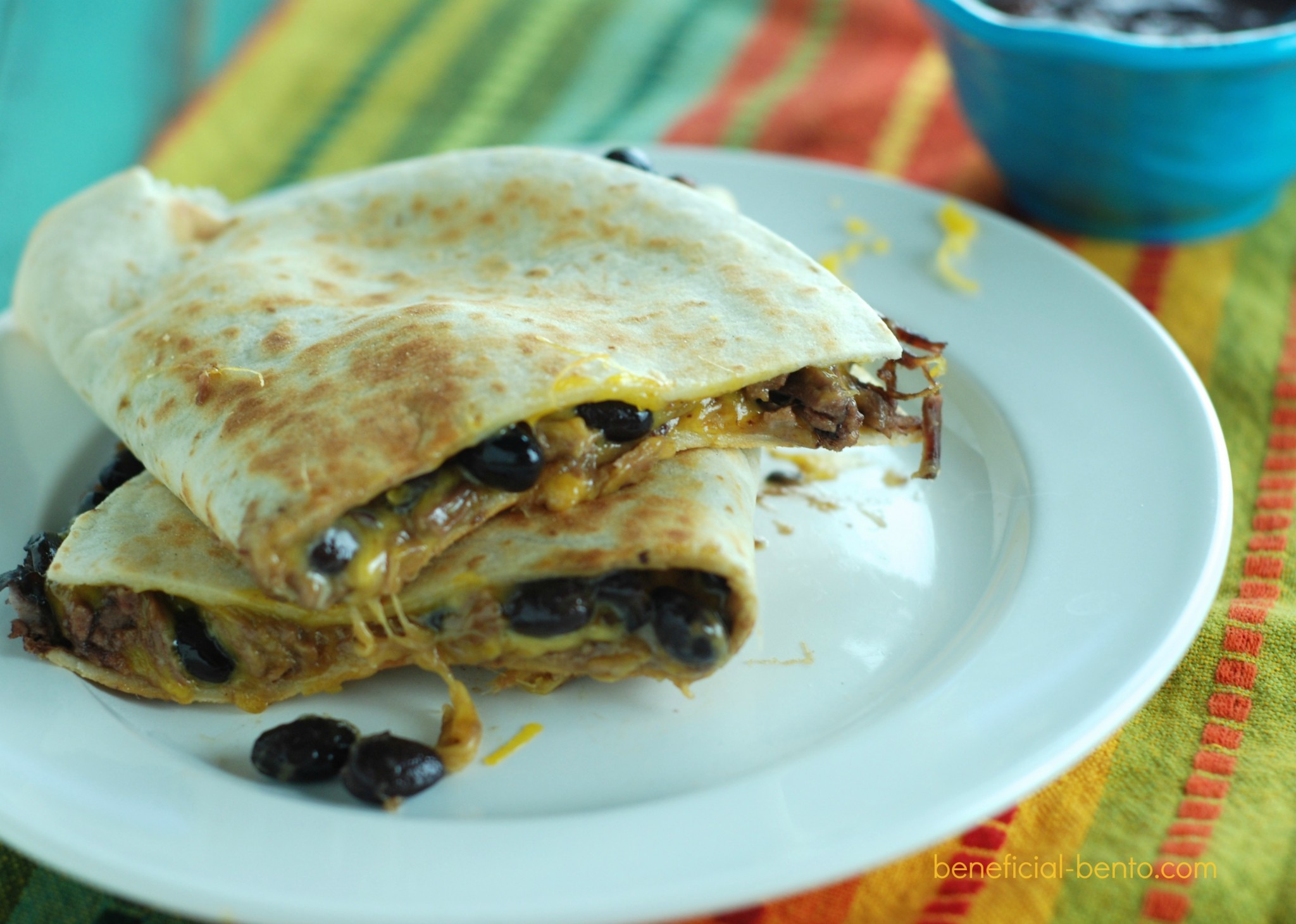 Beef and Bean quesadillas with barbecue salsa dipping sauce - you won't believe how incredible this is!