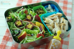Chicken Salad with Peaches,  Walnuts, and Blue Cheese