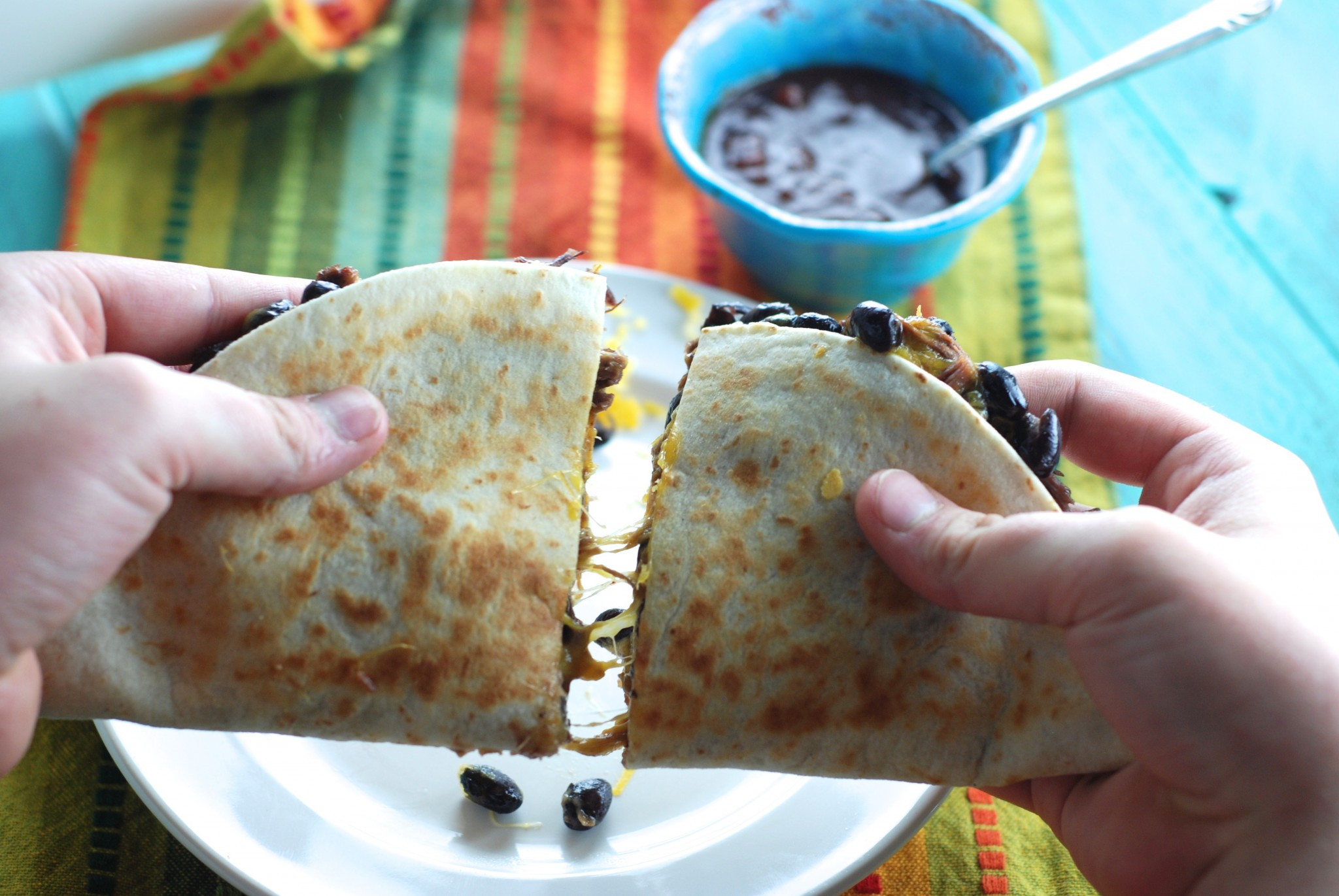 gluten free and surprisingly healthy - Beef and Bean quesadillas