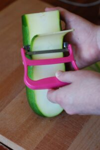 a wide peeler is the best tool to make zucchini lasagna