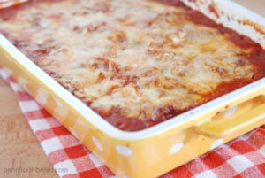 This is a picture of Low-Carb zucchini Lasagna. Recipe at beneficial-bento.com