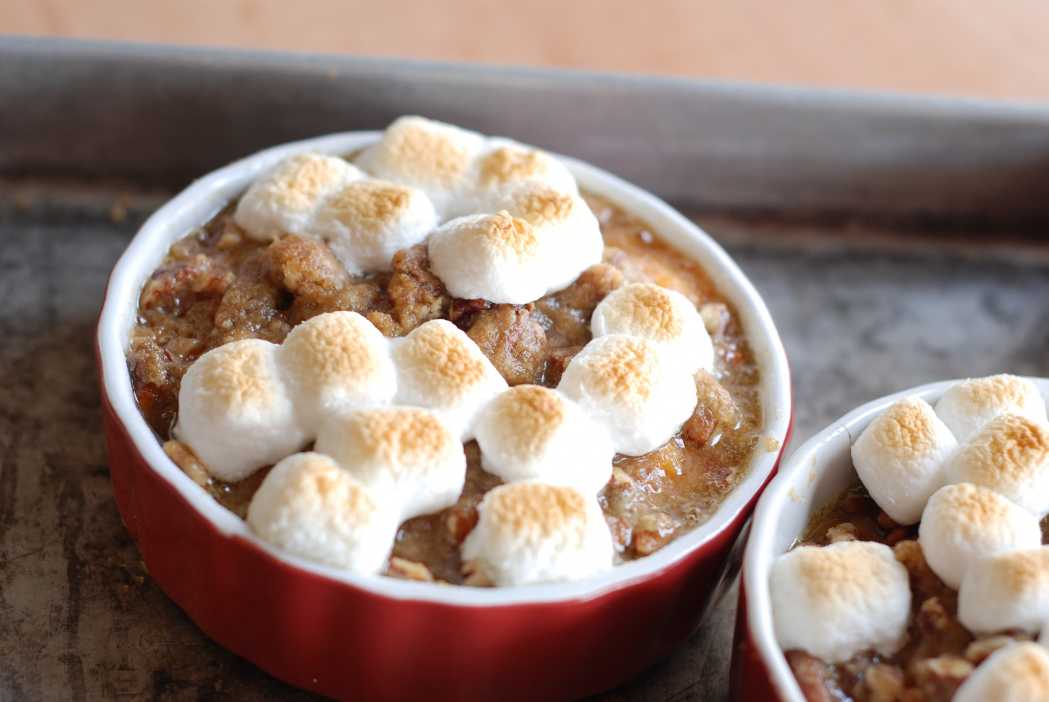 I never liked sweet potatoes for Thanksgiving, until I tried this recipe - Praline Sweet Potatoes with Toasted Marshmallows is the best!