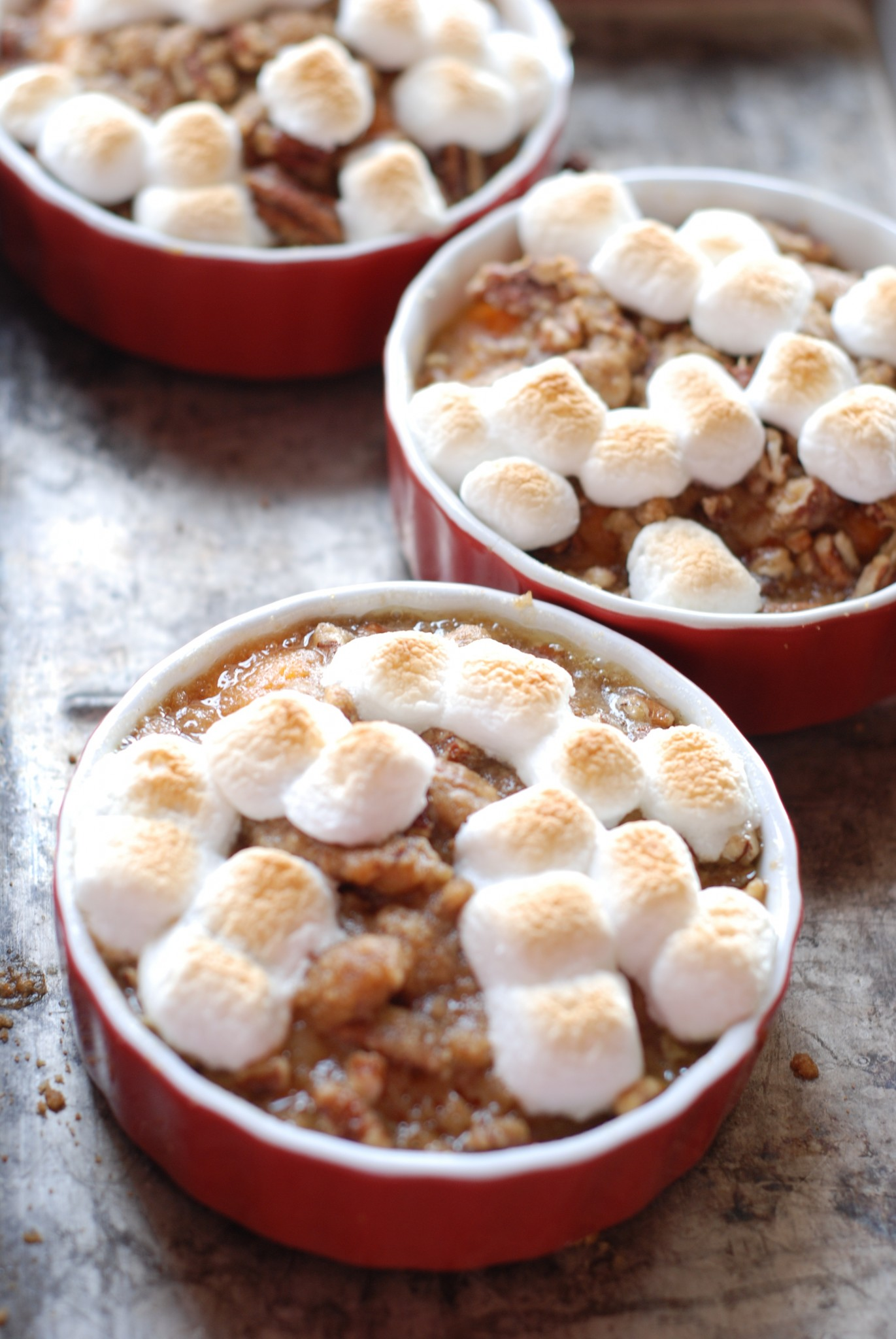 I never used to like sweet potatoes at Thanksgiving until I tried this recipe - Praline Sweet Potatoes with Toasted Marshmallows is the best!