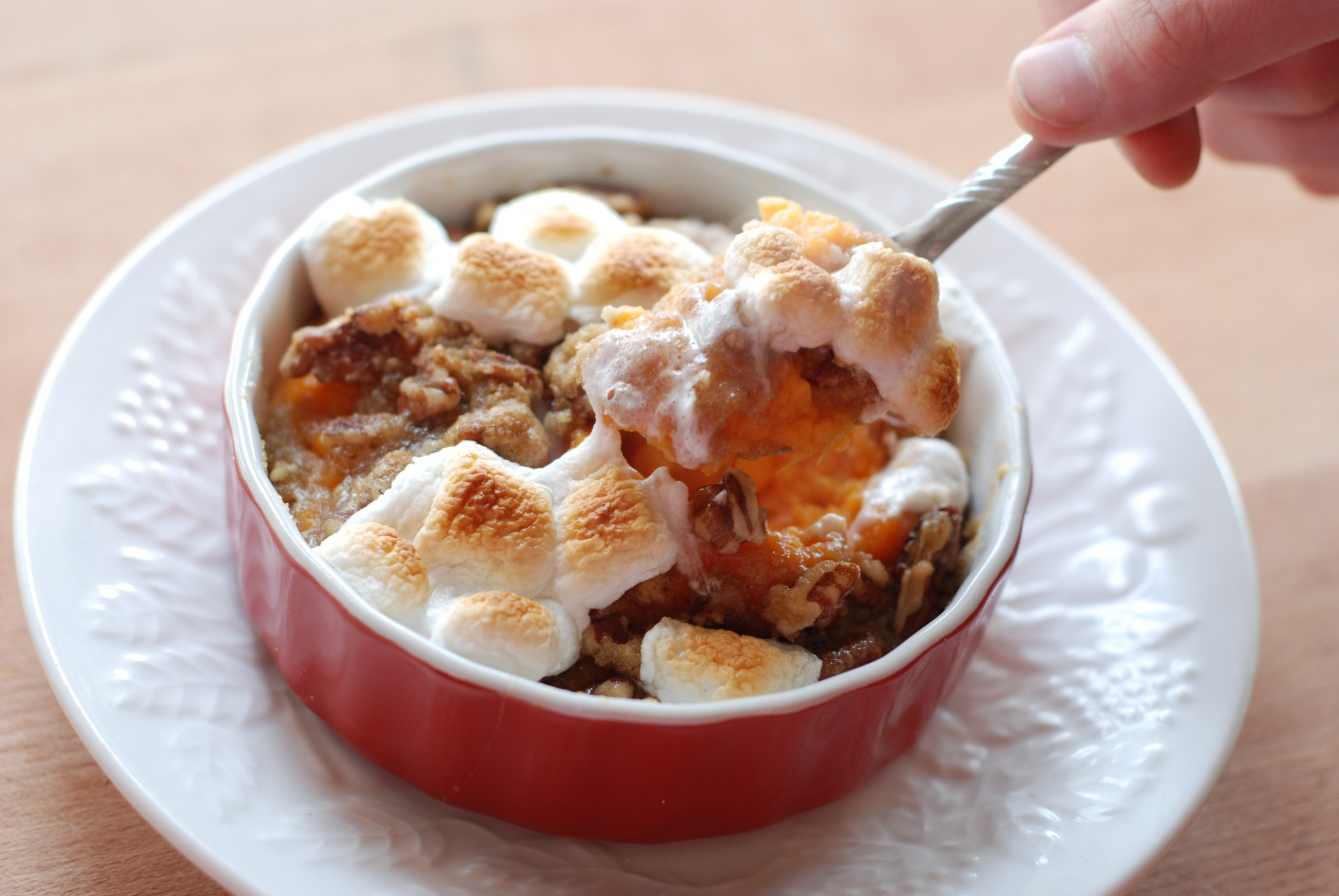 I never used to like sweet potatoes at Thanksgiving until I tried this recipe - Praline Sweet Potatoes with Toasted Marshmallows is the yummiest!