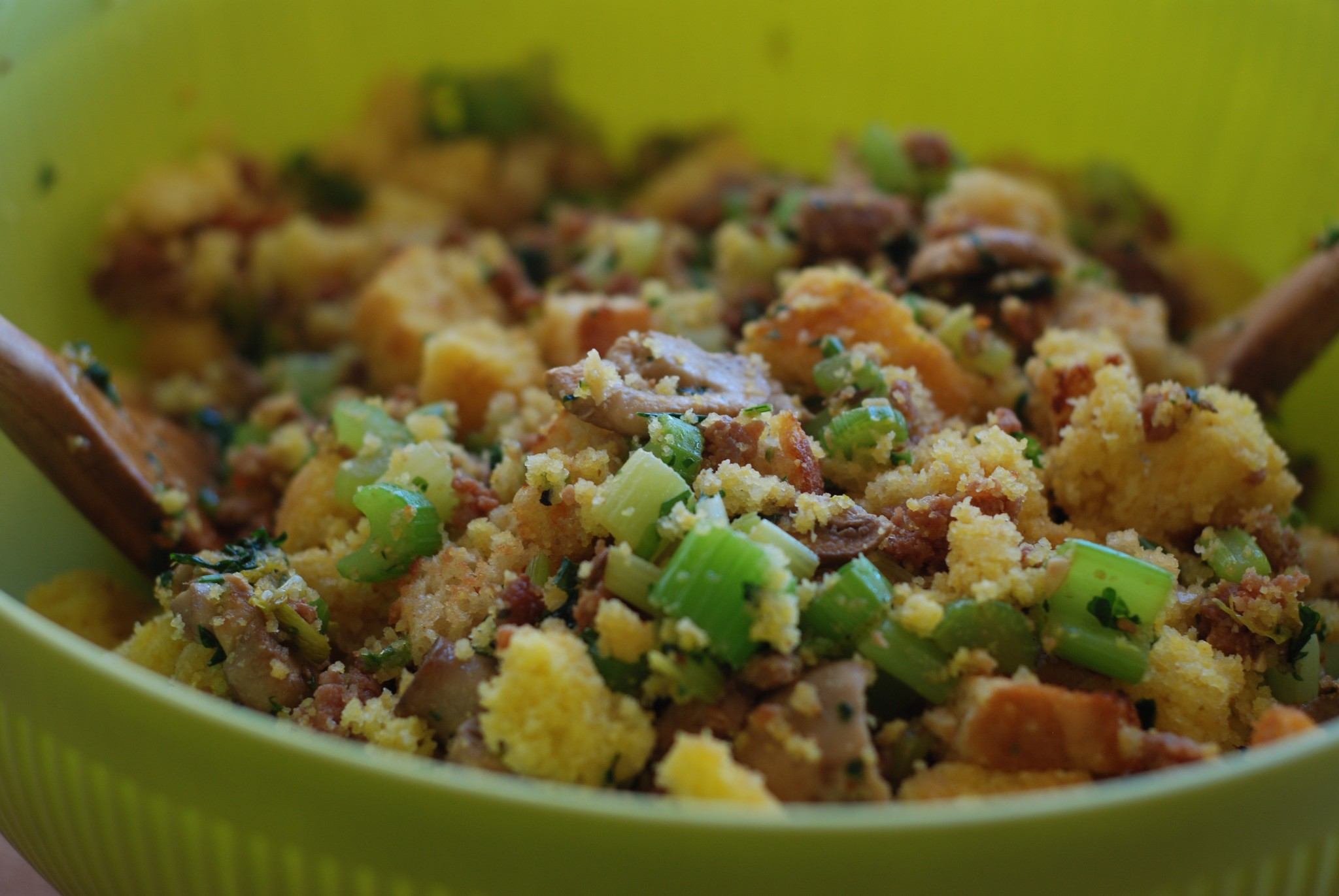 All those yummy bits of mushroom, celery, sausage, and cornbread ready to put in the turkey - so good!