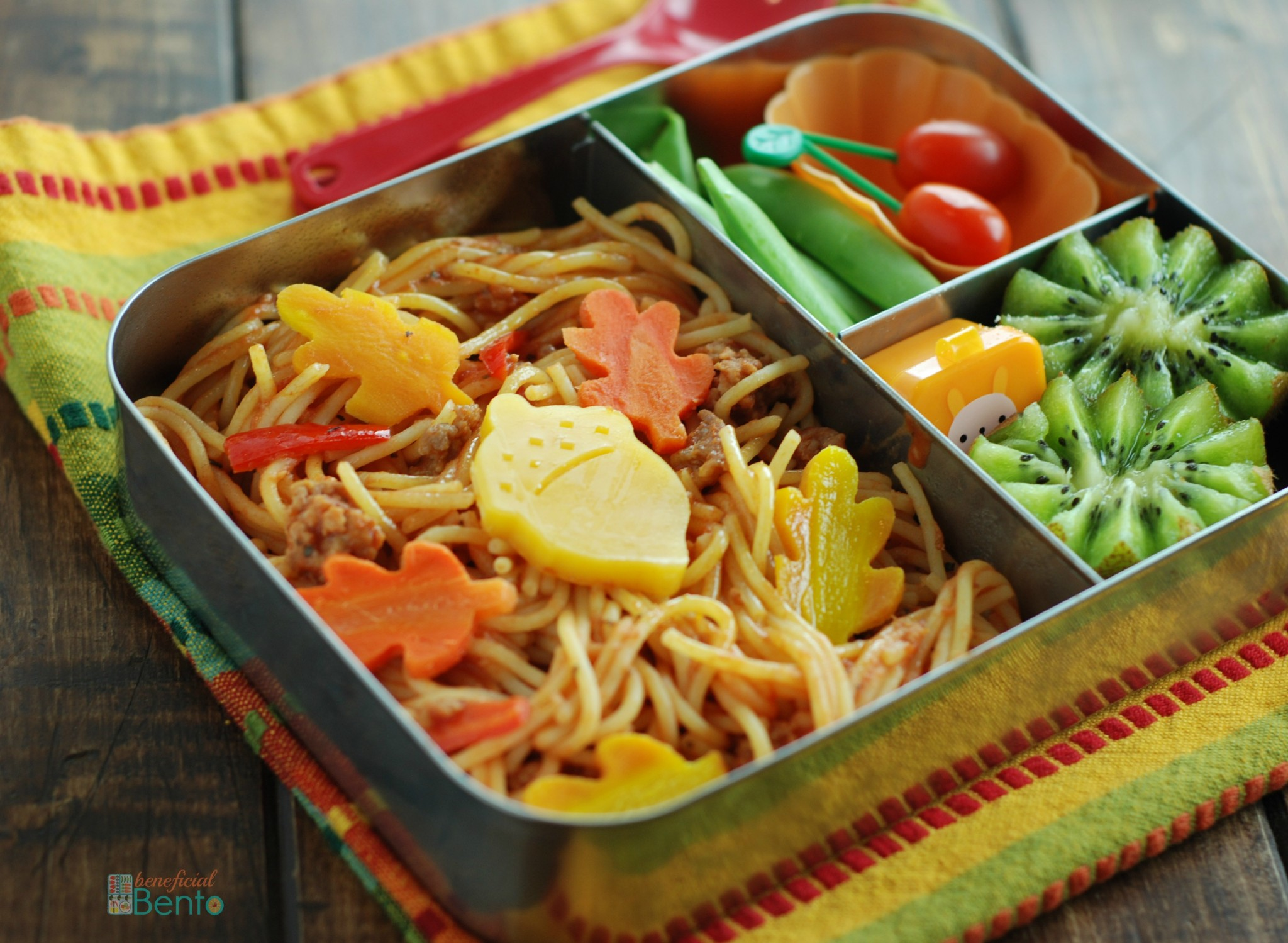 Fall leaf pasta bento -A yummy way to use up leftovers! And it tastes great at room temperature, so it's perfect for packing in my stainless steel LunchBots bento box