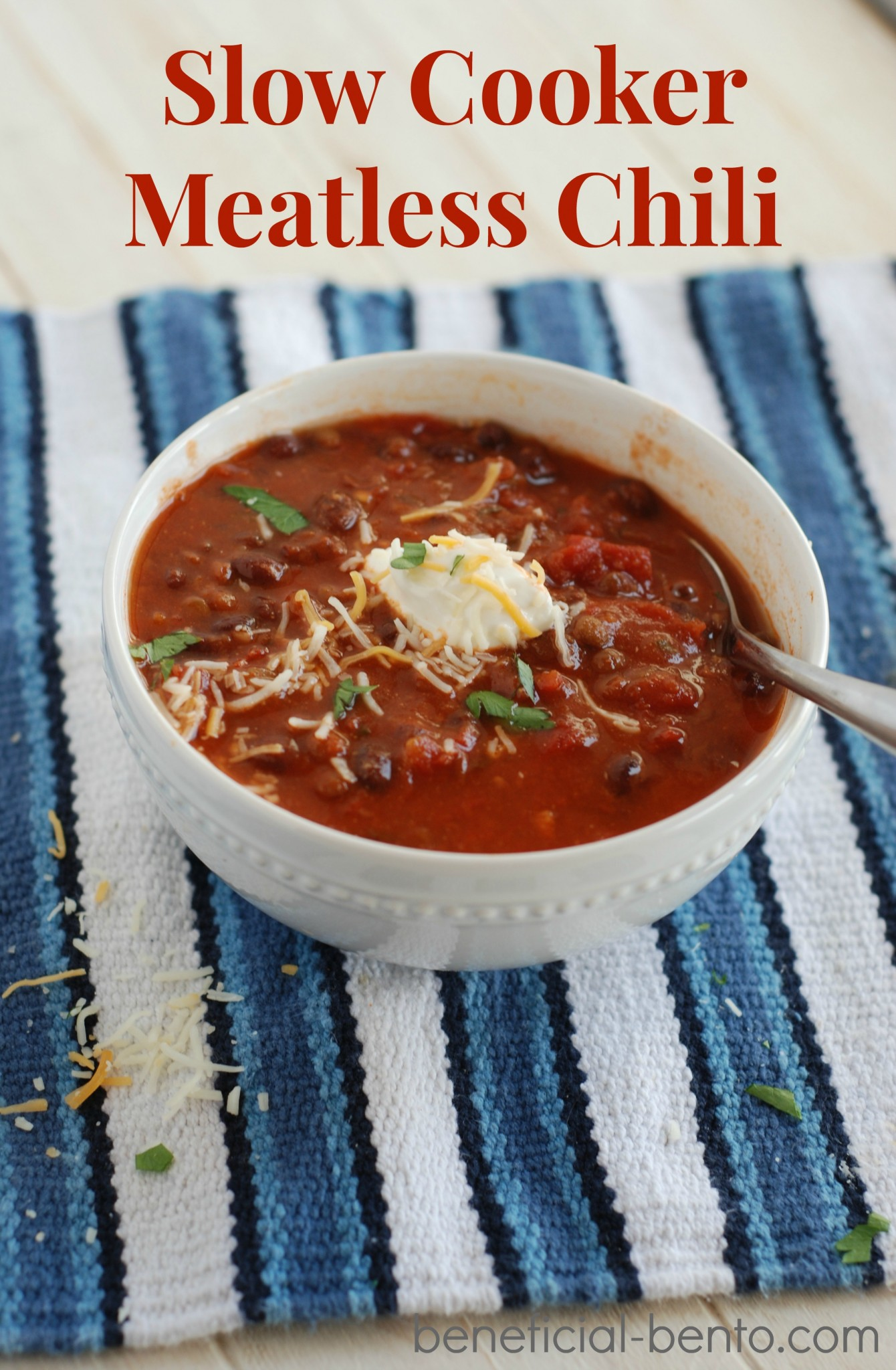 Slow Cooker Meatless Chili is cheap to make, and really easy! you can cook it on the stove top, or all day in the crockpot. It freezes well, and keeps well in the fridge, too.
