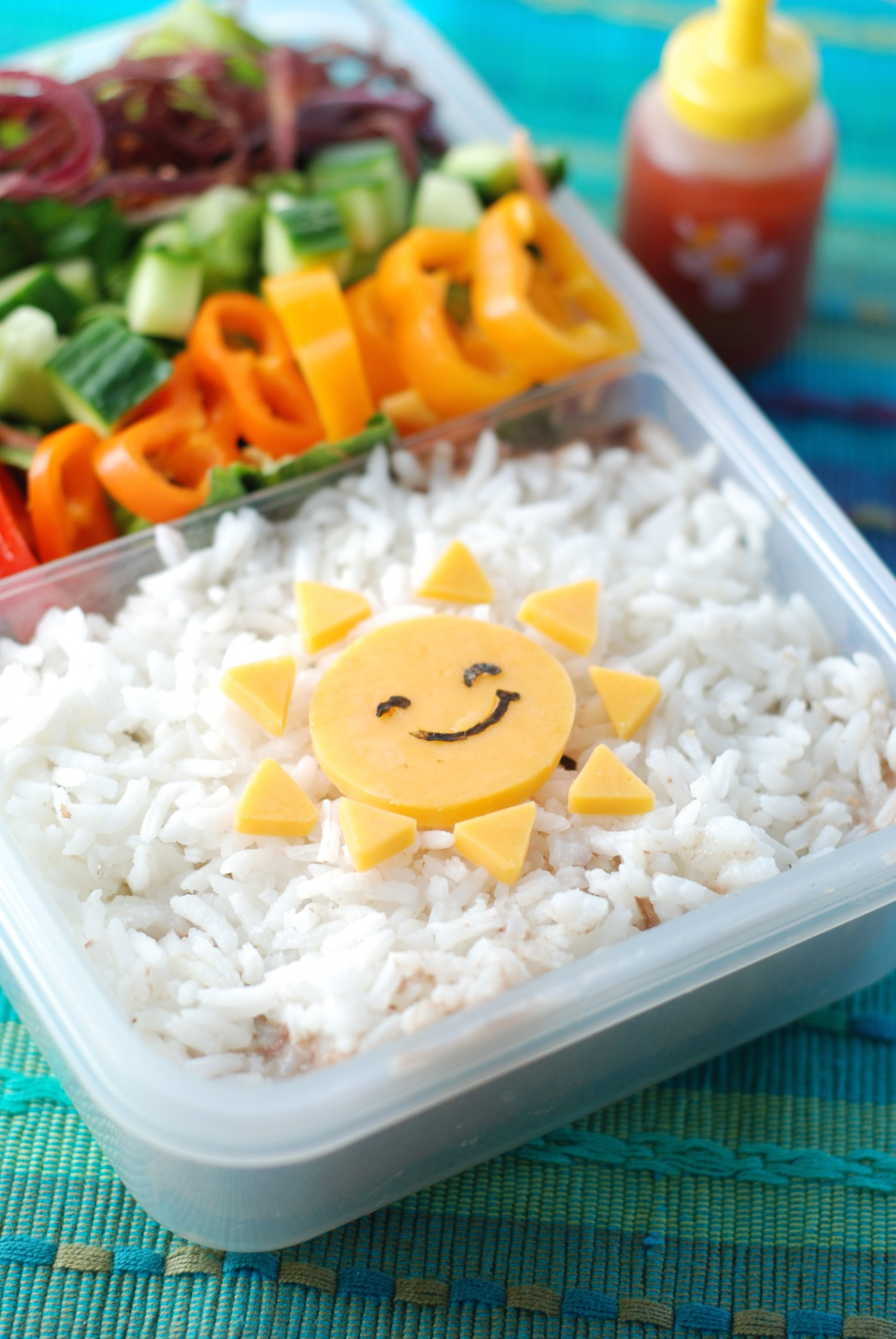 Great lunch idea for leftovers - pack them in a bento box, put the leftover meat from dinner under rice, add cute details on the top, fill in with veggies and fruit. BAM - healthy, fun lunch!
