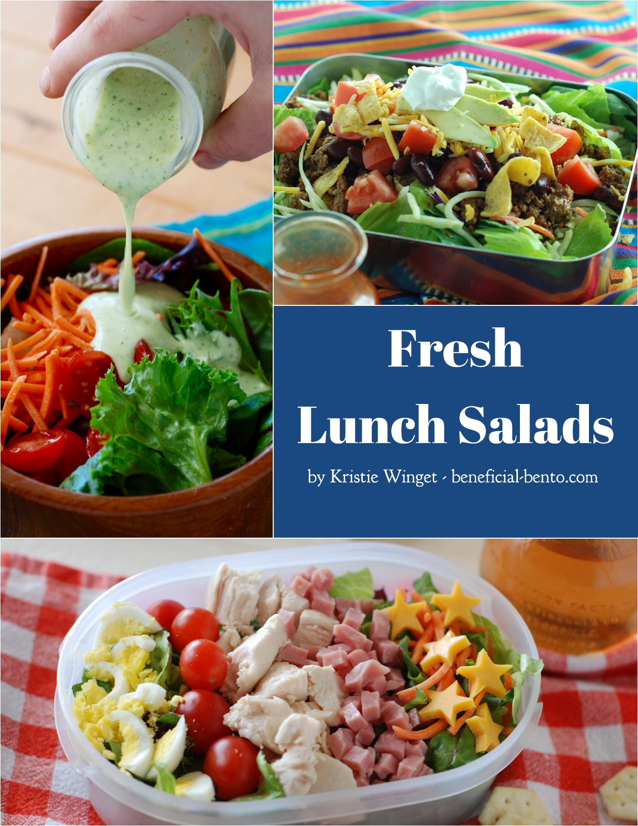 Buy my new book Fresh Lunch Salads - with 25 recipes for dressings, tossed salads, side salads, and my take on how to make some Trader Joe's salads of your own. Also contains info on making your own salad bar, salad bowl, and tips for packing mason jar salads in your lunch bag. Never pack a boring lunch again!