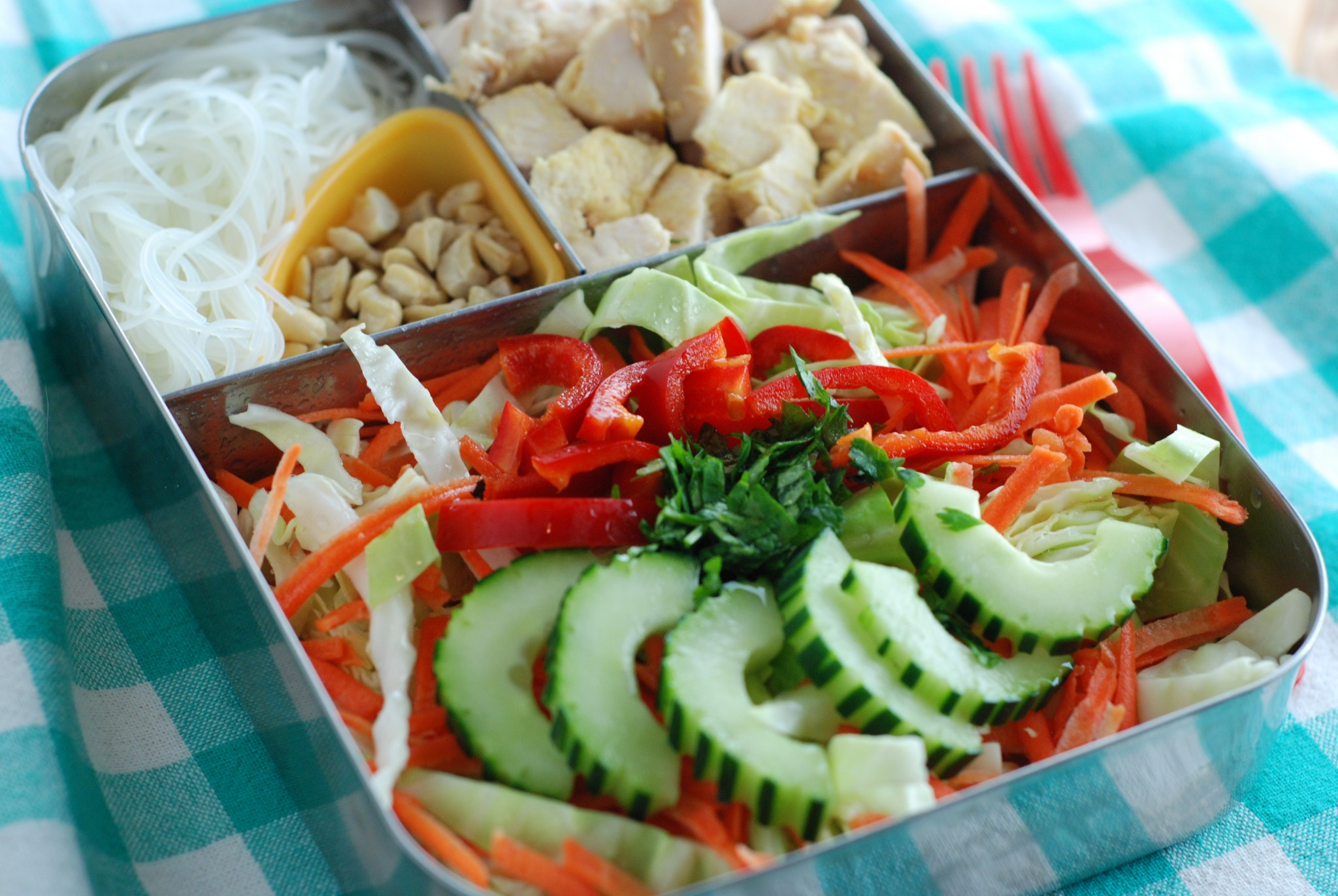 This is my version of Trader Joe's Chicken and Asian Style Noodle Salad. I LOVE it because of the spicy Cilantro-Lime dressing, and that it uses gluten free rice noodles! this can also be found in my ebook, Fresh Lunch Salads. I hope you give it a try!