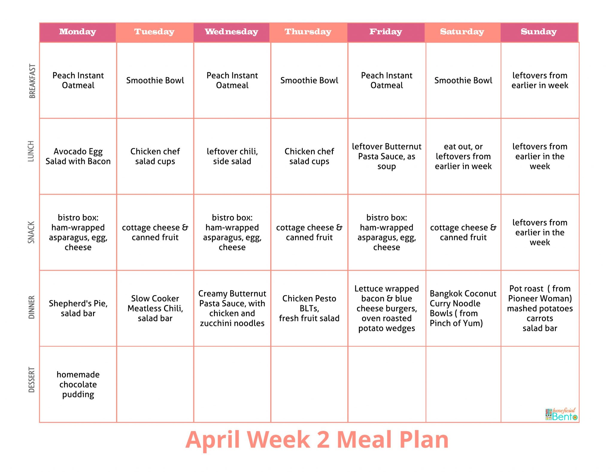 weekly food prep meal plan april week 2 beneficial bento