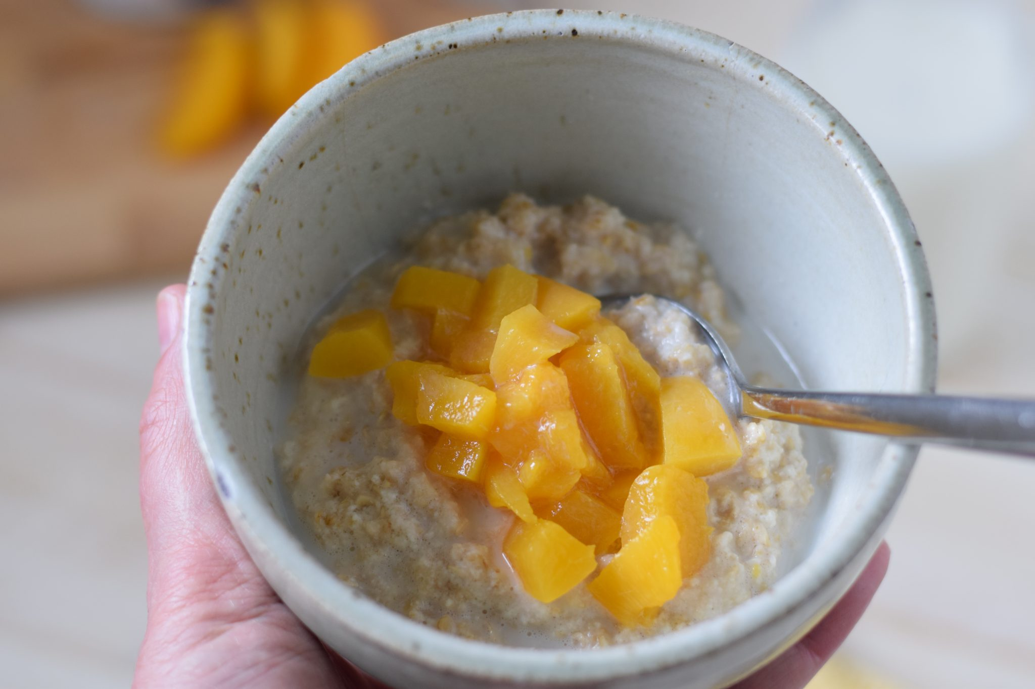 this is a picture of one of my healthy breakfast ideas, Peach Instant Oatmeal. Recipe at beneficial-bento.com