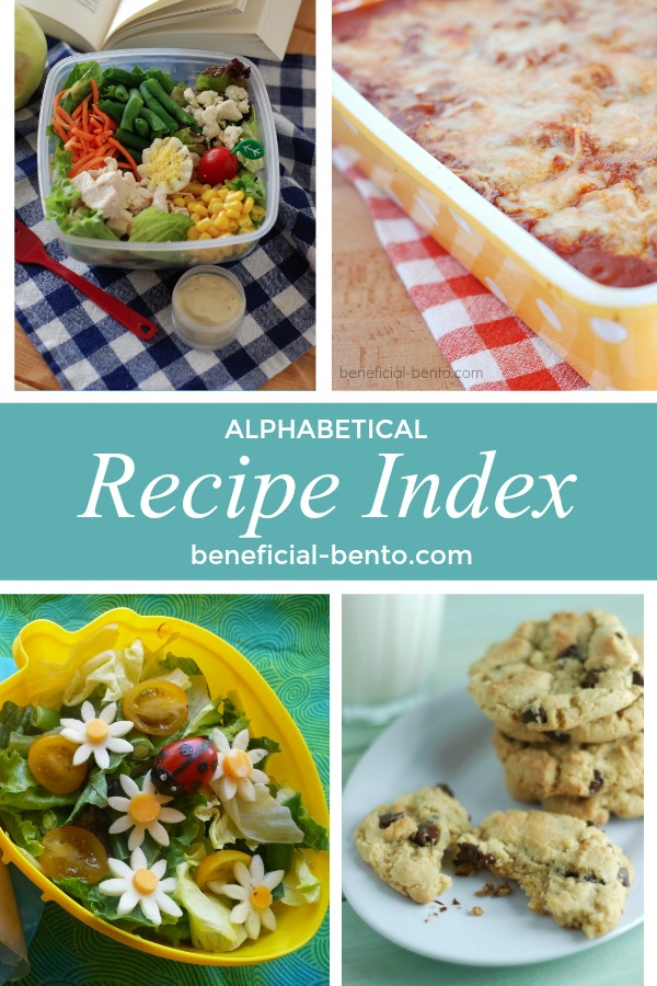 This is a collage picture of Alphabetical Recipe Index page for beneficial-bento.com