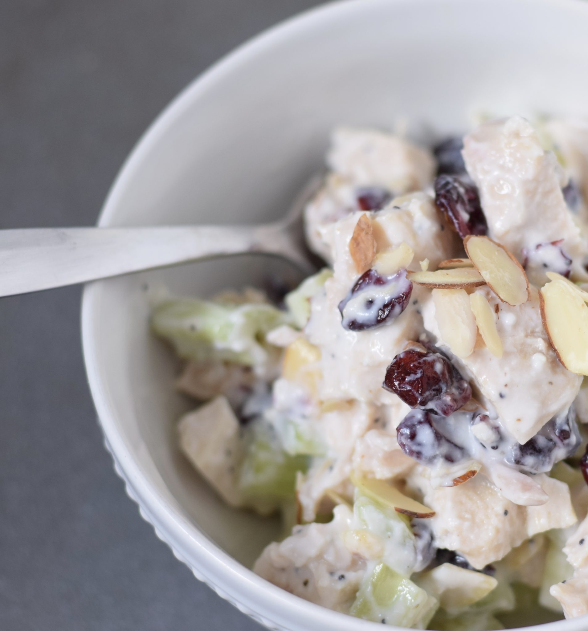 this is a picture of Chicken Salad with Cranberries and Poppy Seeds. Recipe at beneficial-bneto.com
