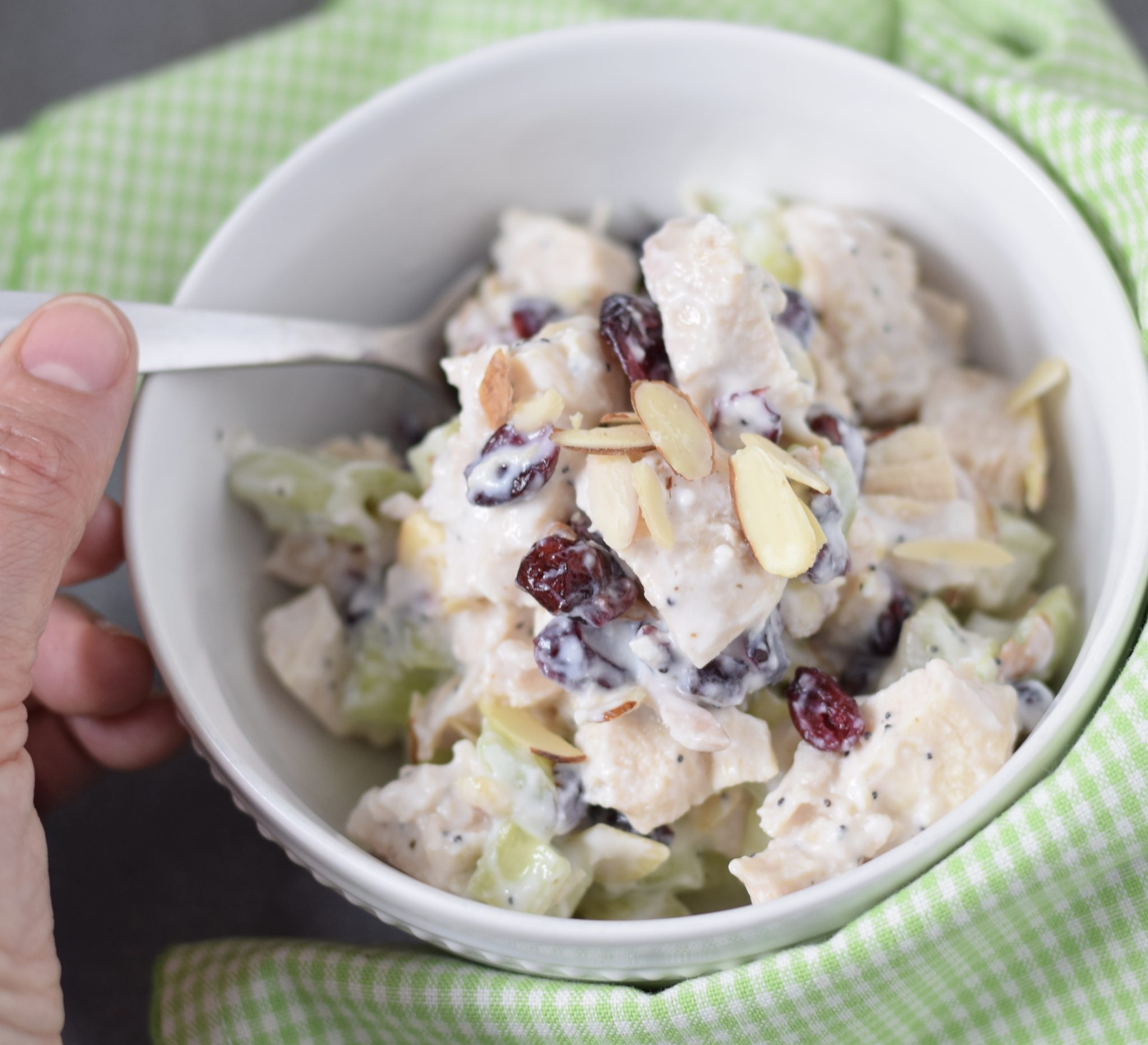 This is a picture of chicken salad with cranberries and poppy seeds. Recipe at beneficial-bento.com