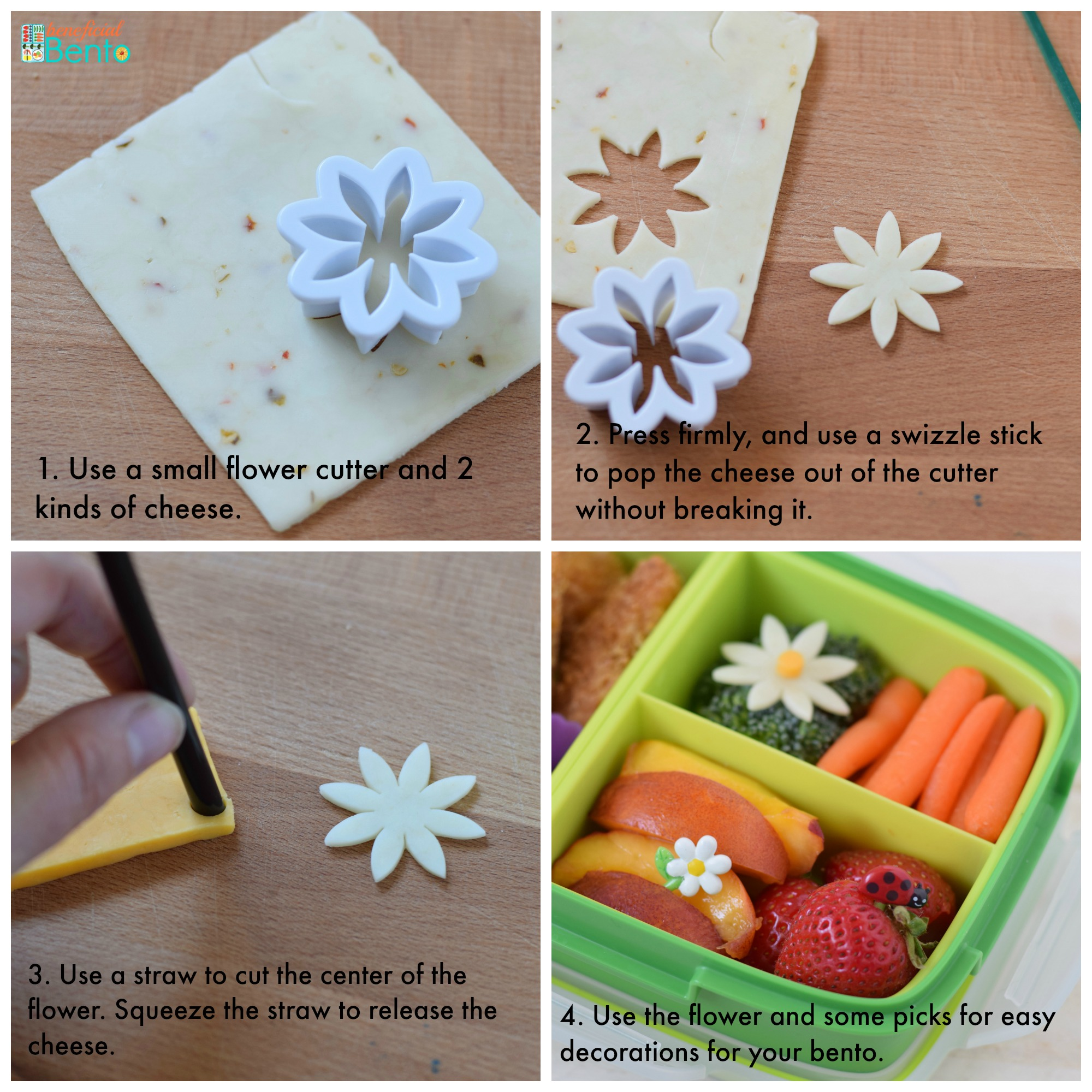 This is a collage picture of how to make a cheese daisy. Details at beneficial-bento.com
