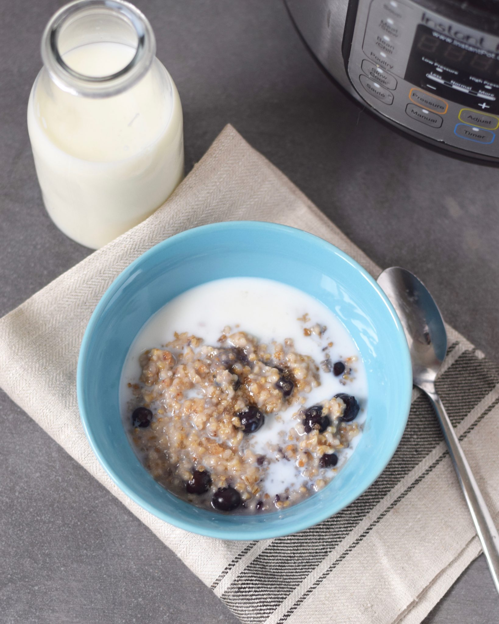 Instant Pot blueberry Coconut Steel Cut Oats - learn how fast this recipe comes together at beneficial-bento.com